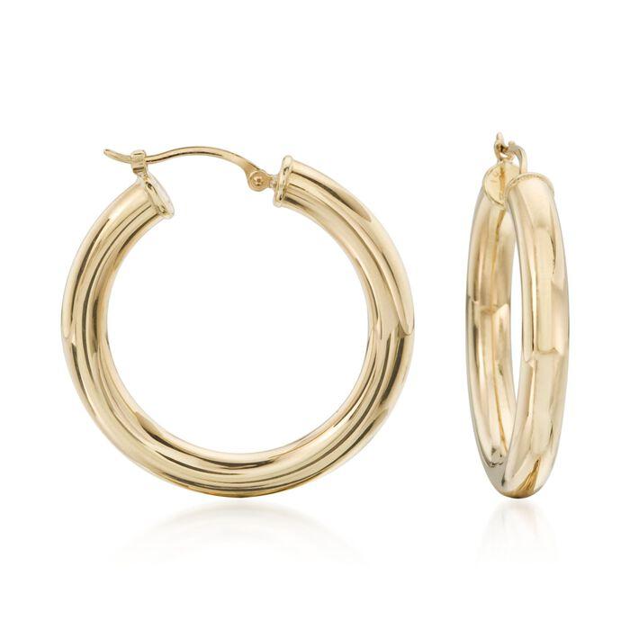 "4mm 14kt Yellow Gold Polished Hoop Earrings. 1 1/8"", , default"