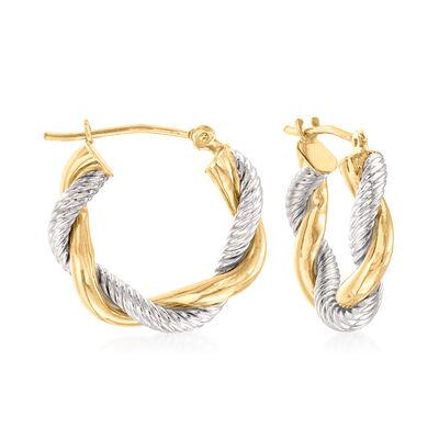 14kt Two-Tone Gold Twisted Hoop Earrings, , default