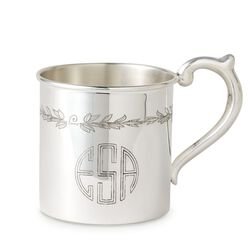Cunill Baby's Sterling Silver Personalized Floral Etched Cup, , default