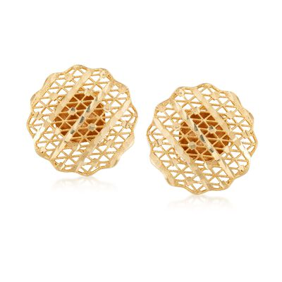Italian 14kt Yellow Gold Filigree Earrings , , default