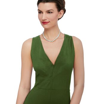 """13.00 ct. t.w. Emerald and 8-8.5mm Cultured Pearl Necklace With 14kt Yellow Gold. 18"""", , default"""