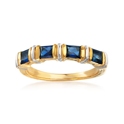 C. 1990 Vintage 1.00 ct. t.w. Sapphire Ring in 18kt Yellow Gold, , default