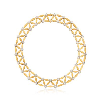 C. 1980 Vintage 7.50 ct. t.w. Diamond and 18kt Two-Tone Gold Lattice Necklace, , default