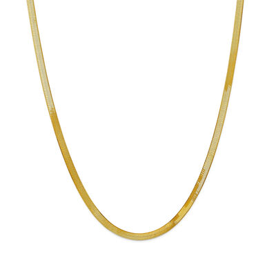 14kt Yellow Gold 4mm Herringbone Necklace