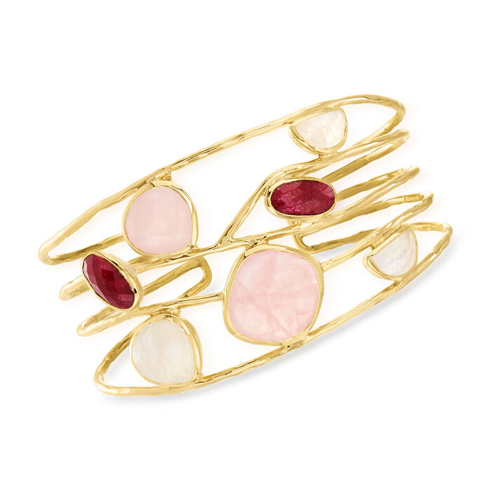 Multi-Gemstone Bangle Bracelet in 18kt Gold Over Sterling