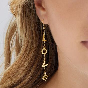 """14kt Yellow Gold """"Love"""" Drop Earrings, , default"""