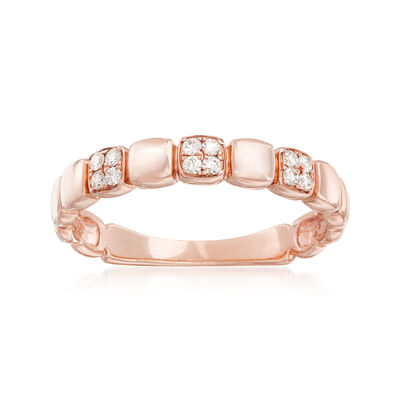 .10 ct. t.w. Diamond Square Station Ring in 14kt Rose Gold, , default