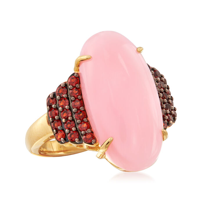 Pink Opal and .50 ct. t.w. Garnet Cocktail Ring in 18kt Gold Over Sterling