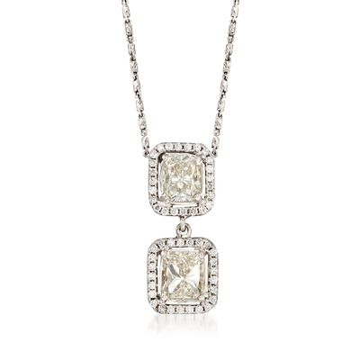 C. 2000 Vintage 2.42 ct. t.w. Diamond Double Drop Pendant Necklace in 14kt White Gold