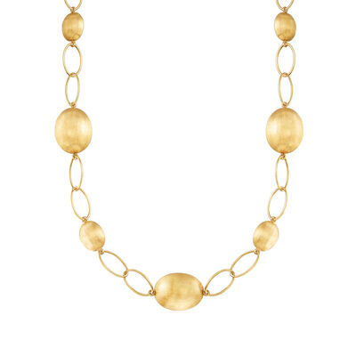 C. 2000 Vintage 18kt Yellow Gold Bead and Link Necklace, , default