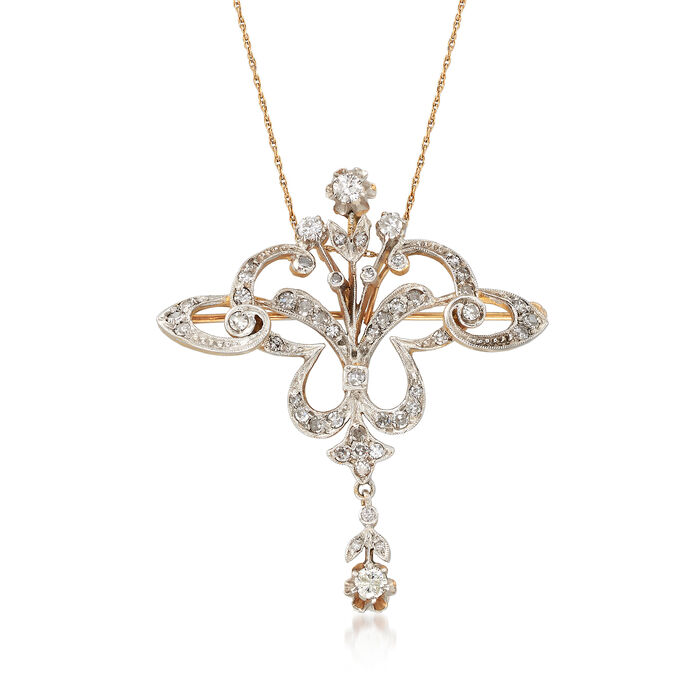 "C. 1980 Vintage 1.25 ct. t.w. Diamond Filigree Pin/Pendant Necklace in 14kt Two-Tone Gold. 18"", , default"