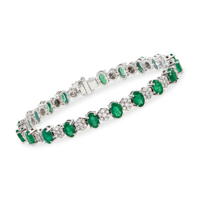 8.25 ct. t.w. Emerald and 2.00 ct. t.w. Diamond Flower Bracelet in 14kt White Gold , , default