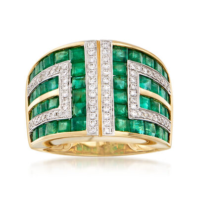 2.90 ct. t.w. Emerald and .37 ct. t.w. Diamond Geometric Ring in 18kt Yellow Gold