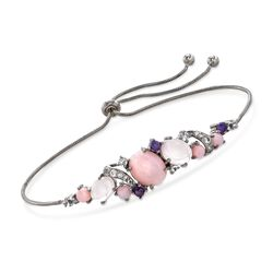 Pink and Purple Multi-Stone Bolo Bracelet With .60 ct. t.w. White Topaz in Sterling Silver, , default