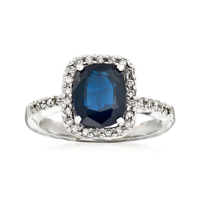 3.00 Carat Sapphire and .25 ct. t.w. Diamond Halo Ring in 14kt White Gold, , default