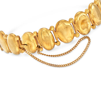 """C. 1950 Vintage .50 ct. t.w. Diamond Lion Head Disc Bracelet with Red Glass in 9kt Yellow Gold. 7.25"""", , default"""
