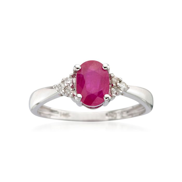 .60 Carat Ruby Ring with Diamond Accents in 14kt White Gold