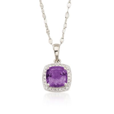 1.65 Carat Amethyst and Diamond Accent Necklace in 14kt White Gold, , default