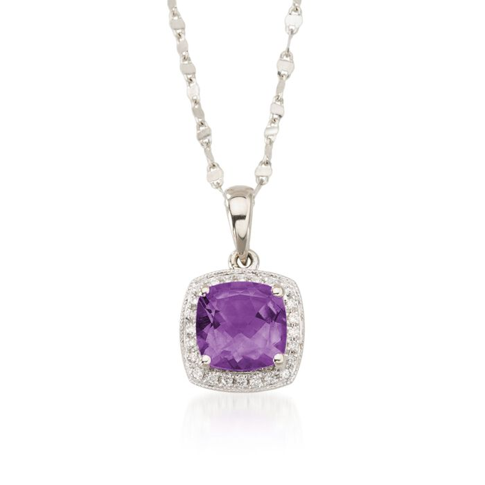 """1.65 Carat Amethyst and Diamond Accent Necklace in 14kt White Gold. 18"""", , default"""