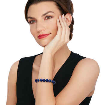 Lapis Bead Stretch Bracelet with 14kt Yellow Gold, , default