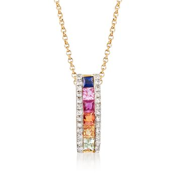 .30 ct. t.w. Multicolored Sapphire Pendant Necklace With Diamond Accents in 14kt Yellow Gold. 180, , default