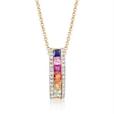 .30 ct. t.w. Multicolored Sapphire Pendant Necklace with Diamond Accents in 14kt Yellow Gold, , default