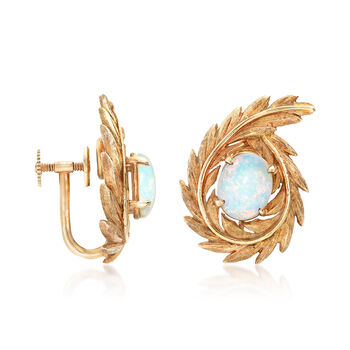 C. 1960 Vintage 2.40 ct. t.w. Opal 14kt Yellow Gold Leaf Clip-On Earrings, , default