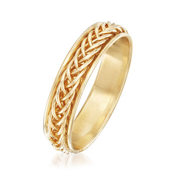 14kt Yellow Gold Small Braided Band Ring. Size 5, , default