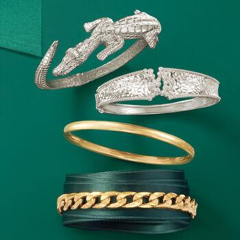 "Italian Sterling Silver Alligator Bypass Bangle Bracelet With Emeralds. 7.5"", , default"