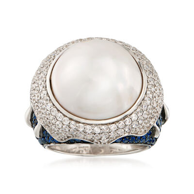 16mm Mabe Cultured Pearl, 1.50 ct. t.w. CZ and 1.28 ct. t.w. Synthetic Blue Spinel Ring in Sterling Silver