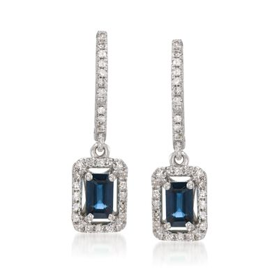.65 ct. t.w. Sapphire and .25 ct. t.w. Diamond Earrings in 14kt White Gold, , default