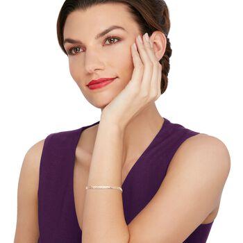 Italian 14kt Tri-Colored Gold Braided Herringbone Bracelet, , default