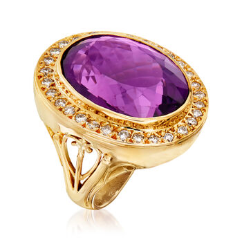 C. 1980 Vintage 29.50 Carat Amethyst and 1.05 ct. t.w. Diamond Ring in 18kt Yellow Gold. Size 7.5