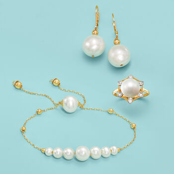 13-14mm Cultured Pearl Drop Earrings in 14kt Yellow Gold, , default