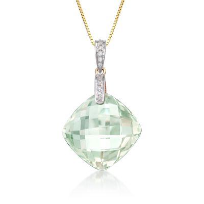 13.00 Carat Green Prasiolite Necklace with Diamonds in 14kt Yellow Gold, , default