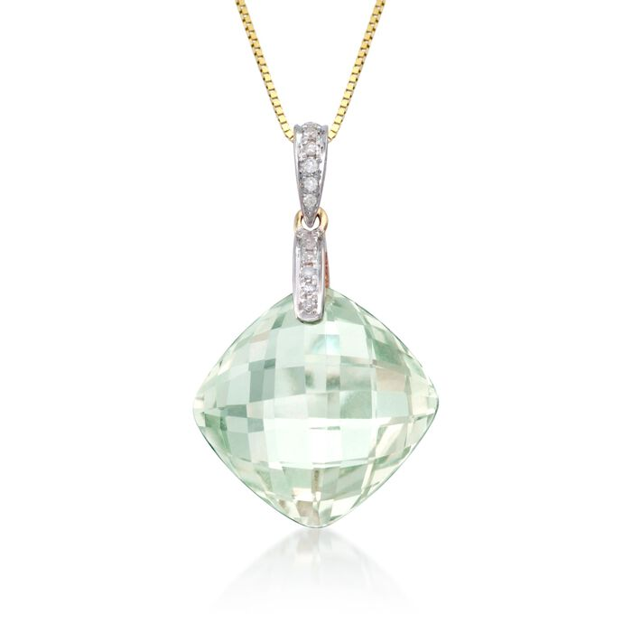 13.00 Carat Green Prasiolite Necklace with Diamonds in 14kt Yellow Gold