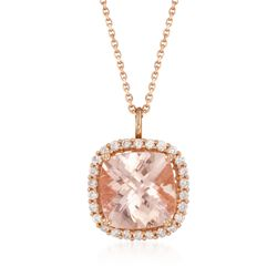 "5.20 Carat Morganite and .46 ct. t.w. Diamond Pendant Necklace in 14kt Rose Gold. 18"", , default"