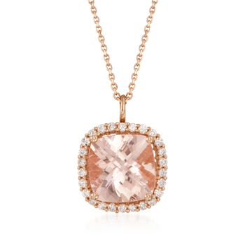 """5.20 Carat Morganite and .46 ct. t.w. Diamond Pendant Necklace in 14kt Rose Gold. 18"""", , default"""