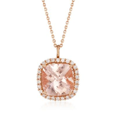 5.20 Carat Morganite and .46 ct. t.w. Diamond Pendant Necklace in 14kt Rose Gold, , default