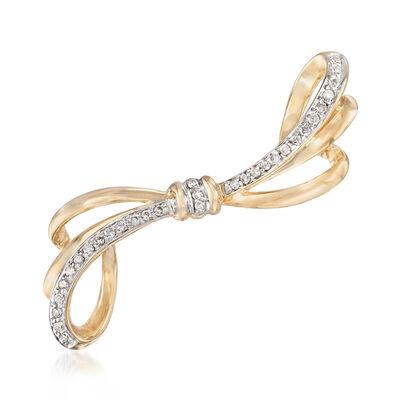 .23 ct. t.w. Diamond Bow Pin in 14kt Yellow Gold, , default
