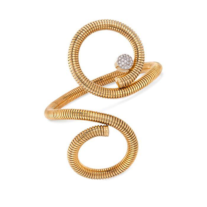 "C. 1990 Vintage .30 ct. t.w. Diamond Coil Bracelet in 18kt Yellow Gold. 7"", , default"