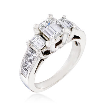 C. 2000 Vintage 1.70 ct. t.w. Diamond Three-Stone Ring in 14kt White Gold. Size 5, , default