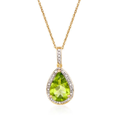 2.80 Carat Peridot Pendant Necklace with Diamond Accents in 14kt Yellow Gold, , default