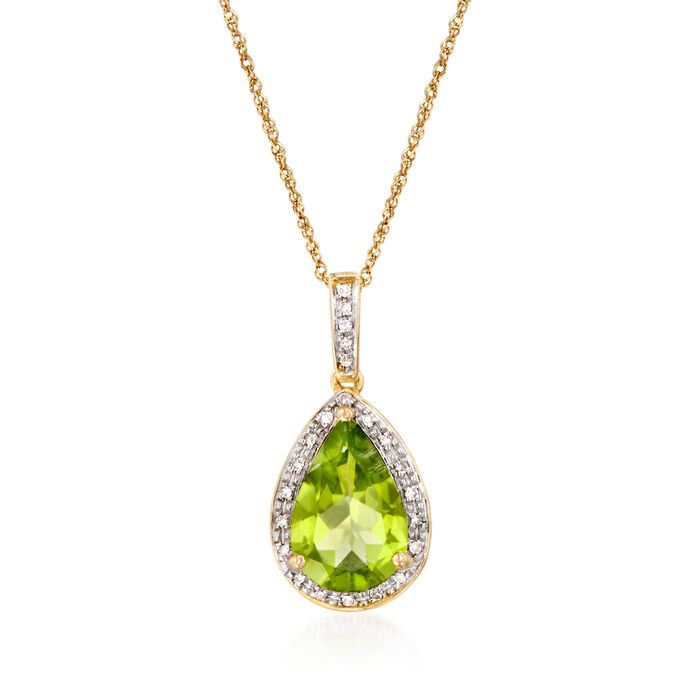 2.80 Carat Peridot Pendant Necklace with Diamond Accents in 14kt Yellow Gold
