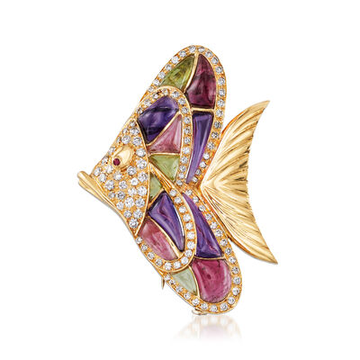 C. 1980 Vintage 2.50 ct. t.w. Diamond and Multi-Gemstone Fish Pin with Ruby Accents in 18kt Yellow Gold, , default