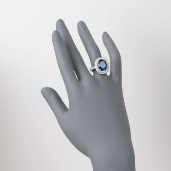 7.45 Carat Tanzanite and .75 ct. t.w. Diamond Ring in 18kt White Gold, , default