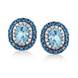 7.65 ct. t.w. Sky and London Blue Topaz Earrings in Sterling Silver, , default
