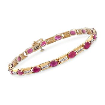 "9.00 ct. t.w. Ruby and .45 ct. t.w. Diamond Line Bracelet in 14kt Yellow Gold. 7.25"", , default"