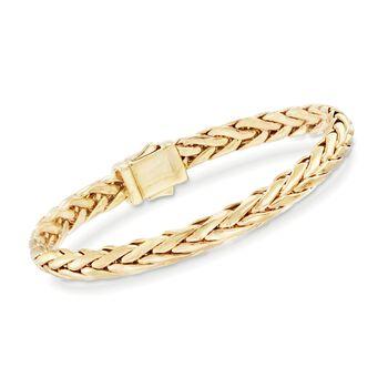 "Phillip Gavriel ""Woven Gold"" 14kt Yellow Gold Rounded Braid Link Bracelet. 7.5"", , default"