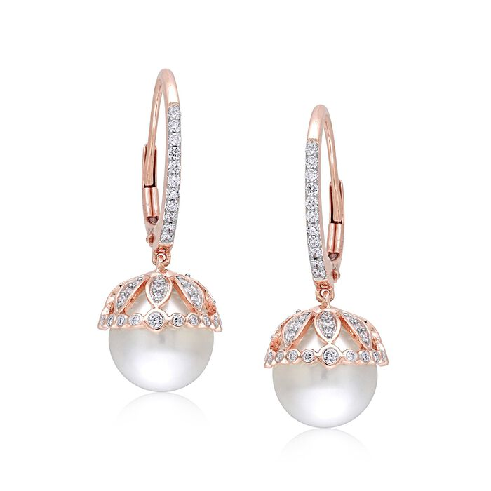 9-9.5mm Cultured Pearl and .51 ct. t.w. Diamond Drop Earrings in 14kt Rose Gold , , default